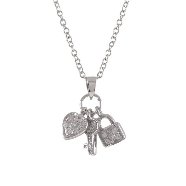 Sterling Silver Cubic Zirconia Heart Key Charm Pendant Necklace