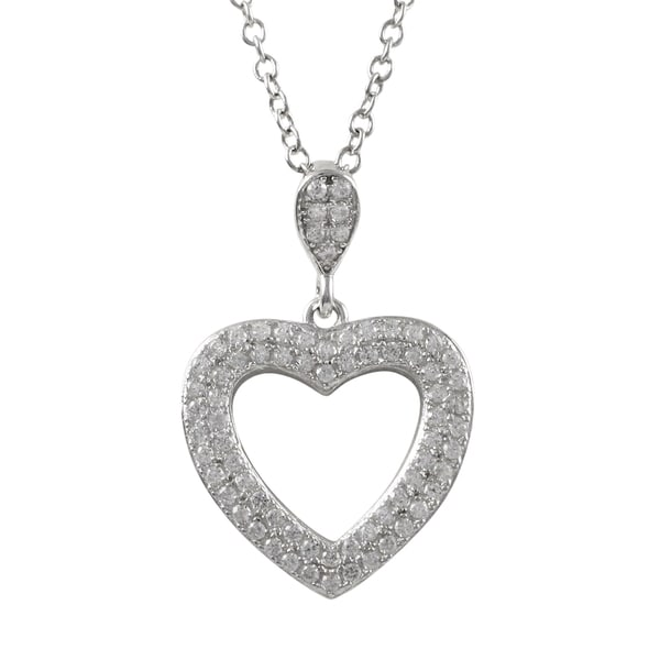 Sterling Silver Pave Cubic Zirconia Open Heart Pendant Necklace
