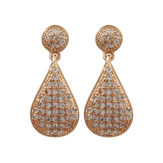 Luxiro Rose Gold Finish Sterling Silver Micropave Cubic Zirconia Teardrop Earrings