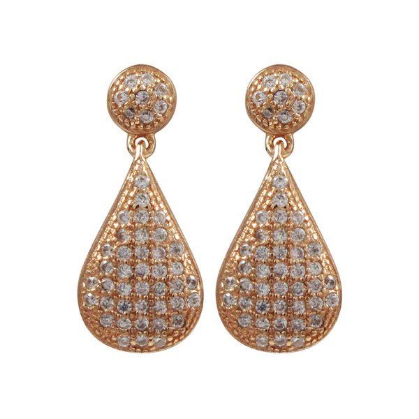Luxiro Rose Gold Finish Sterling Silver Micropave Cubic Zirconia Teardrop Earrings 16838558