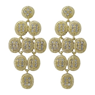 Gold Finish Pave Cubic Zirconia Chandelier Dangle Earrings