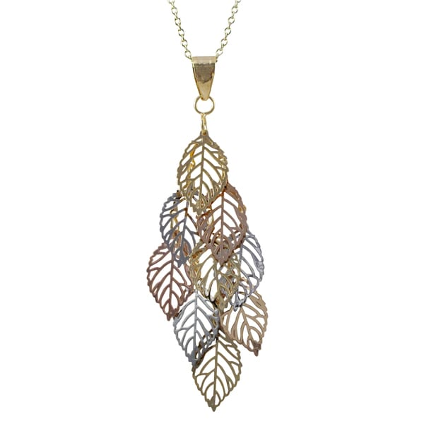 Tri-color Gold Finish Leaves Chandelier Pendant Necklace