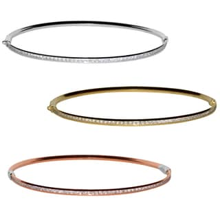 14k White, Yellow or Rose Gold Channel-set Cubic Zirconia Stackable Hinged Bangle Bracelet