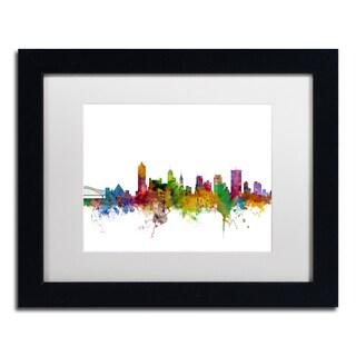 Michael Tompsett 'Memphis Tennessee Skyline' White Matte, Black Framed Canvas Wall Art