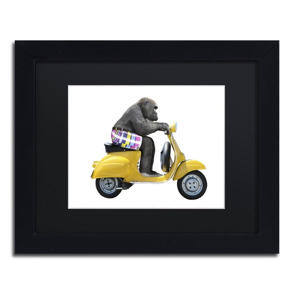 J Hovenstine Studios 'Monkeys Riding Bikes #4' Black Matte, Black Framed Canvas Wall Art