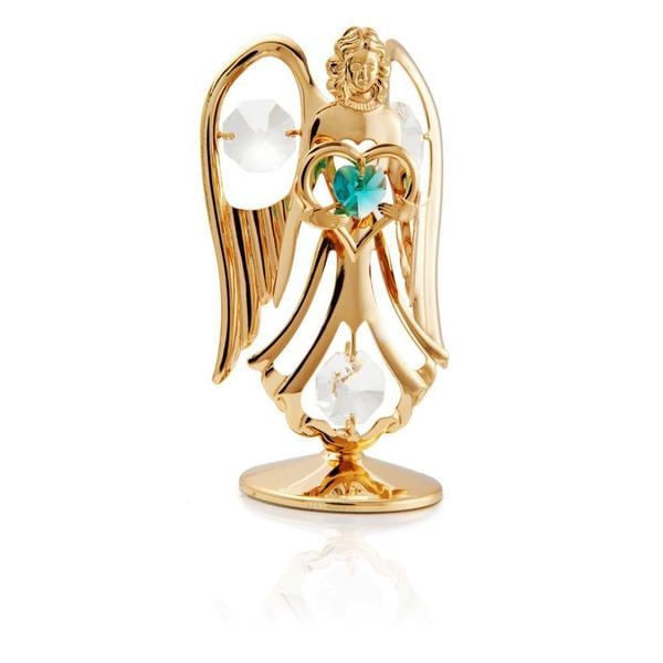 Matashi 24K Gold Plated December Angel Birth Stone Table Top with Genuine Matashi Crystals