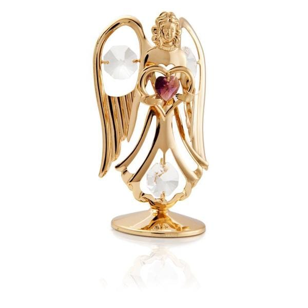 Matashi 24K Gold Plated February Angel Birth Stone Table Top with Genuine Matashi Crystals