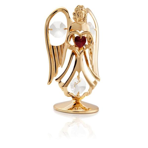 Matashi 24k Gold Plated January Angel Birth Stone Table Top with Genuine Matashi Crystals
