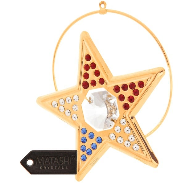 Matashi 24K Gold Plated Beautiful Studded Star Ornament with Genuine Matashi Red White and Blue Crystals.