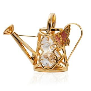 Matashi 24K Gold Plated Butterfly Water Can Ornament with Genuine Matashi Crystals
