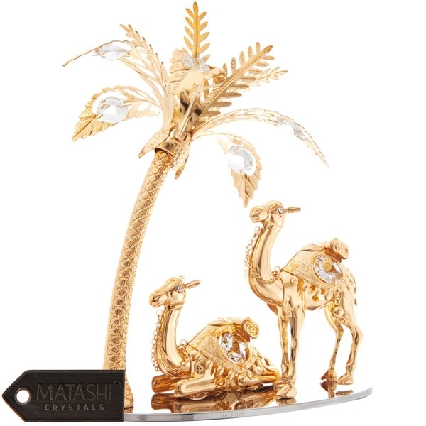 Matashi 24K Gold Plated Beautiful Camels and Palm Tree Ornament with Genuine Matashi Crystals