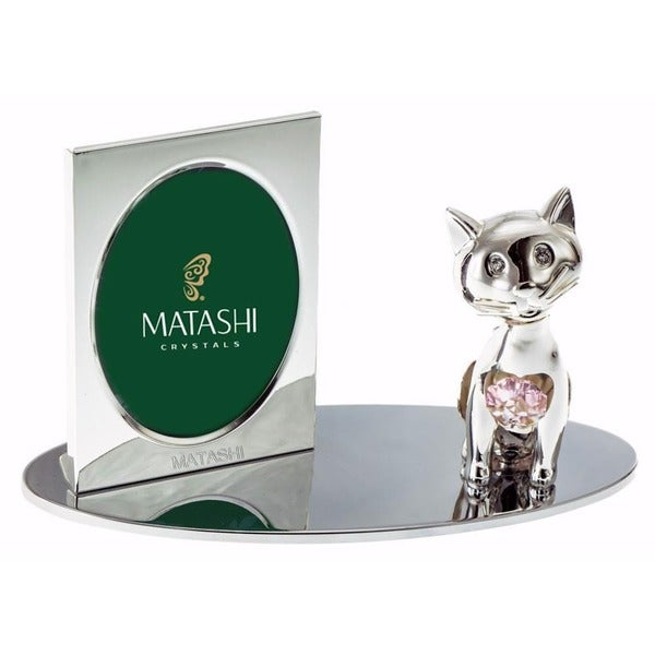 Matashi Cartoon Cat Silver Picture Frame with Genuine Matashi Crystals