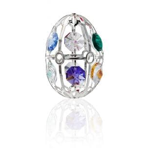 Matashi Silver Plated Easter Egg Ornament with Colorful Genuine Matashi Crystals