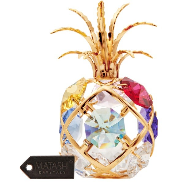 Matashi 24K Gold Plated Highly Polished Mini Pineapple Ornament with Genuine Matashi Crystals