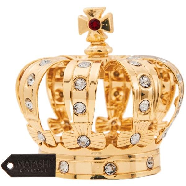 Matashi 24K Gold Plated Crown Ornament with Genuine Matashi Crystals