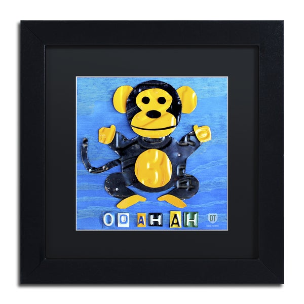 Design Turnpike 'Oo Ah Ah the Monkey' Black Matte, Black Framed Canvas Wall Art