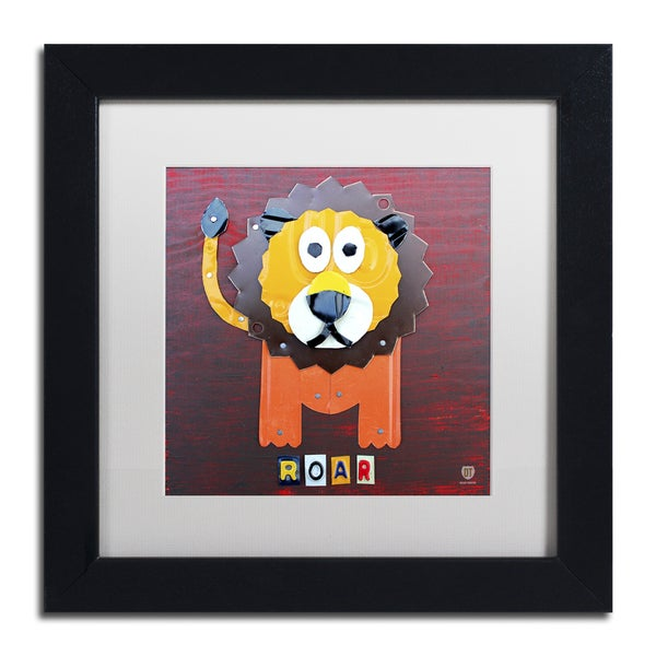 Design Turnpike 'Roar The Lion' White Matte, Black Framed Canvas Wall Art