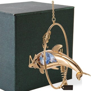 Matashi 24K Gold Plated Dolphin Ornament with Blue Genuine Matashi Crystals