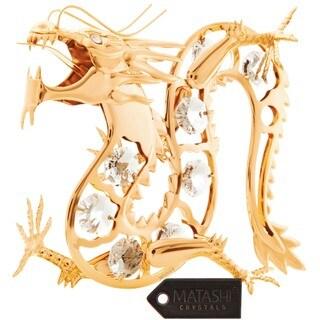 Matashi 24K Gold Plated Dragon Ornament with Genuine Matashi Crystals
