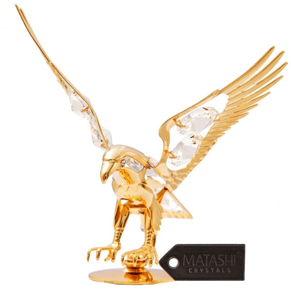 Matashi 24K Gold Plated Eagle Ornament with Genuine Clear Matashi Crystals
