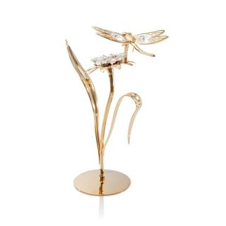 Matashi 24K Gold Plated Flower with Dragonfly Ornament with Genuine Matashi Crystals