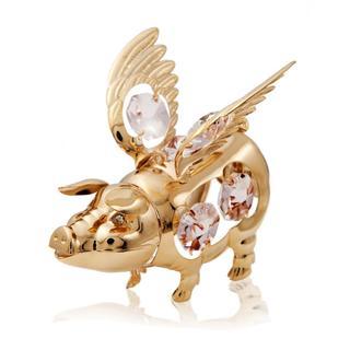 Matashi 24K Gold Plated Flying Pig Ornament with Pink Matashi Crystals