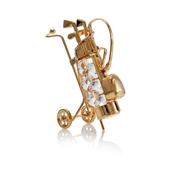 Matashi 24K Gold Plated Golf Bag Gold Ornament with Genuine Matashi Crystals