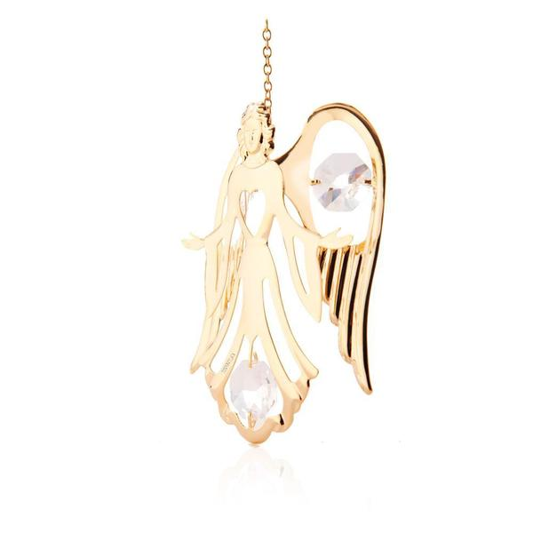 Matashi 24K Gold Plated Guardian Angel Ornament with Genuine Matashi Crystals
