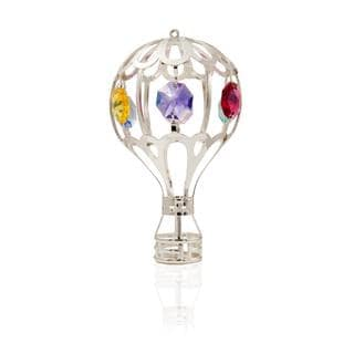 Matashi Silver Plated Highly Polished Whimsical Hot Air Balloon Ornament with Genuine Colorful Matashi Crystals