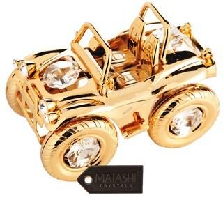 Matashi 24K Gold Plated Jeep Wrangler Ornament with Genuine Matashi Crystals