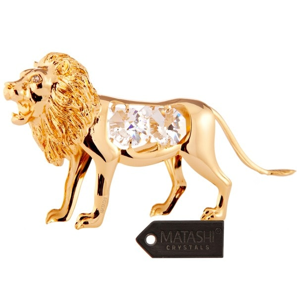 Matashi 24K Gold Plated Lion Ornament with Genuine Matashi Crystals.