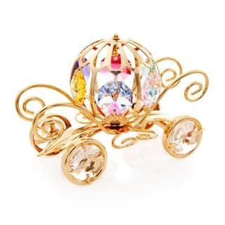 Matashi 24K Gold Plated Mini Pumpkin Coach Ornament with Genuine Matashi Crystals