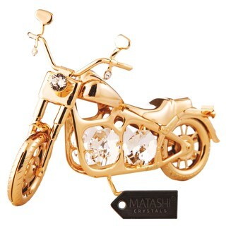 Matashi 24K Gold Plated Chopper Motorcycle Ornament with Genuine Matashi Crystals