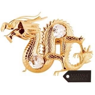 Matashi 24K Gold Plated Oriental Dragon Ornament with Genuine Matashi Crystals