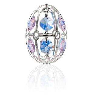 Matashi Silver Plated Easter Egg Ornament with Pink and Blue Genuine Matashi Crystals