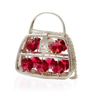 Matashi Silver Plated Highly Polished Stylish Purse Ornament with Genuine Matashi Ruby Red and Clear Crystals