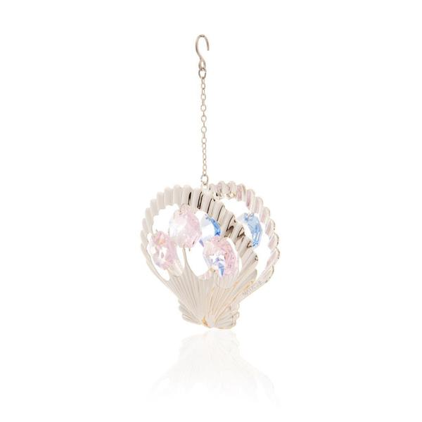 Matashi Silver Plated Highly Polished Beautiful Seashell Ornament with Genuine Matashi Pink and Blue Crystals
