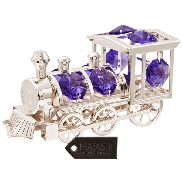 Matashi Silver Plated Highly Polished Train Ornament with Genuine Lavender Matashi Crystals