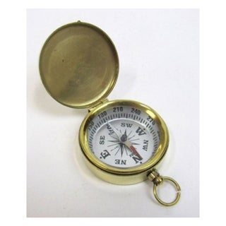 Brass Pocket Compass With Black Dial