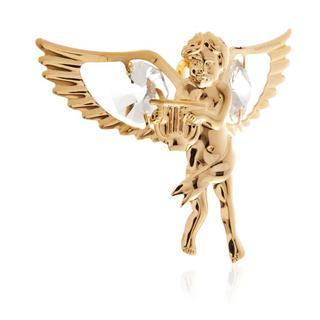 Matashi 24K Gold Plated Winged Boy Angel Ornament with Clear Genuine Matashi Crystals