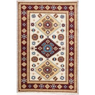 Royal Kazak Burgundy/ Cream Wool Geometric Rectangular Rug (6'8 x 9'10)