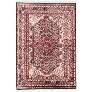 Kashmir Black/ Dark Red Silk Geometric Rectangular Rug (4'10 x 7'1)