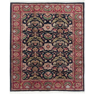 Darshana Finest Dark Navy Wool Open Field Rectangular Rug (7'10 x 9'6)
