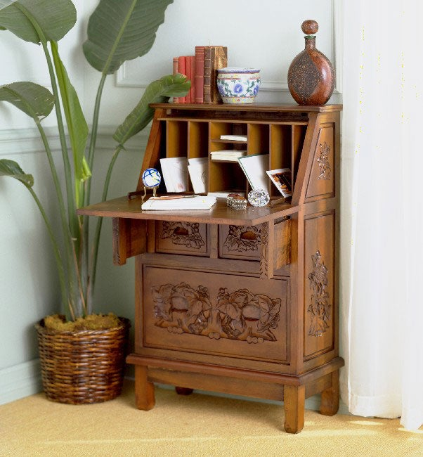 Hand Carved Drop Front Secretary Desk Overstock Shopping