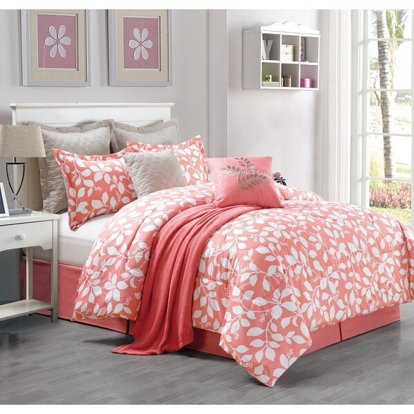 Julia 9-piece Queen Size Comforter Set in Coral (As Is Item)