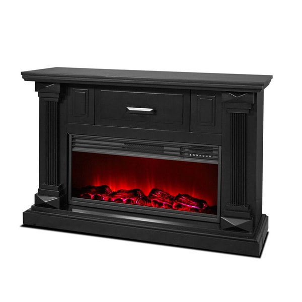 Lifesmart Lifelux Extra Large Room 48-inch Media Center Fireplace with Midnight Black Mantle and Northern Light Flame