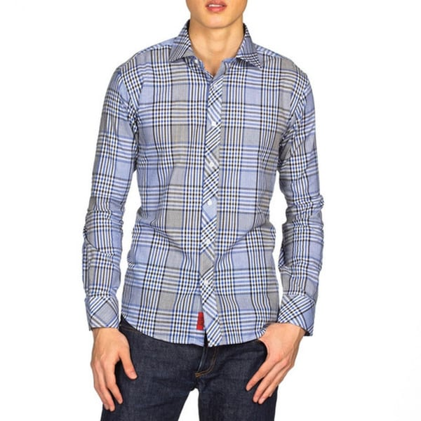 Elie Balleh Brand Men's Plaid Slim Fit Shirt XLarge, Navy only (As Is Item)
