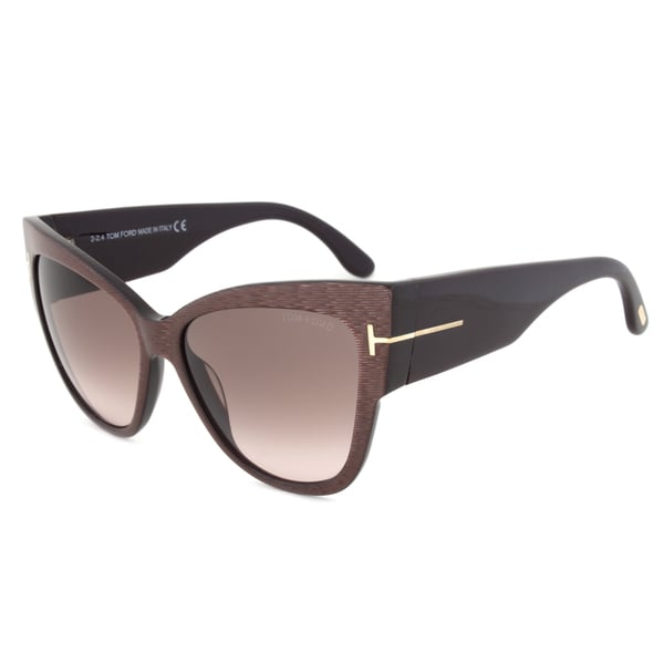 Tom Ford Anoushka Womens TF 371 50F Brown Plastic Cat-Eye Sunglasses (As Is Item)