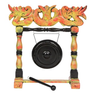 Handmade Decorative Gong Oriental Home Accent Piece (Indonesia)