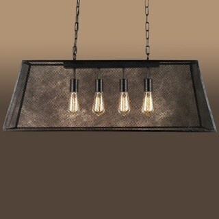 Lemuel 4-light Black 30-inch Edison Island Chandelier with Bulbs